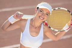 Happy Smiling Female Tennis Athlete Royalty Free Stock Photo