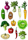 Happy smiling fresh garden vegetables Stock Images