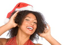 Happy smiling friendly Mrs. Santa Claus Stock Photos