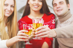 Happy smiling friends drinking champagne by the Cristmas tree Stock Images