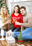 Happy smiling friends drinking champagne by the Cristmas tree Royalty Free Stock Photo