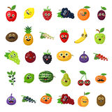 Happy smiling fruits. Happy smiling fruits on white background. Cute fresh stickers or decoration for menu, book and more Royalty Free Stock Photo
