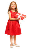 Happy smiling girl with birthday present Royalty Free Stock Photos