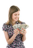 Happy Smiling Girl Counting Money Stock Images