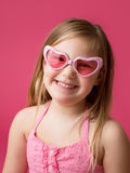 Happy Smiling Girl with Heart Glasses Stock Image