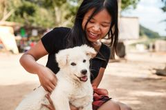 Happy smiling girl holding a white dog puppy in her hand outdoor. Happy smiling woman holding a white dog puppy in her hand outdoor. Beautiful girl playing with stock photography