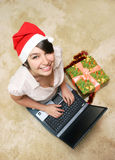 Happy smiling girl with laptop Royalty Free Stock Image