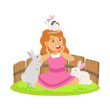 Happy smiling girl playing with small rabbits in a mini zoo. Colorful cartoon character vector Illustration. Isolated on a white background Royalty Free Stock Image