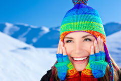 Happy smiling girl portrait, winter fun outdoor Stock Images