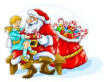 Happy smiling girl with Santa Claus Royalty Free Stock Photography