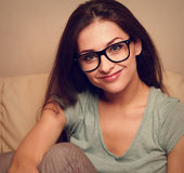 Happy smiling girl in spectacles. Closeup Royalty Free Stock Images