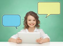 Happy smiling girl with tablet pc computer Stock Image