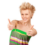 Happy smiling girl with thumbs up Royalty Free Stock Photos