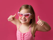 Happy Smiling Girl Thumbs Up Stock Photos