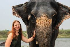 Happy smiling girl traveler with red hair in a green t-shirt holding a big elephant royalty free stock image