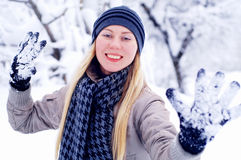 Happy smiling girl in winter Stock Photography