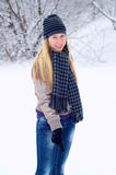 Happy smiling girl in winter Royalty Free Stock Images