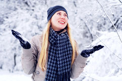 Happy smiling girl in winter Stock Photos