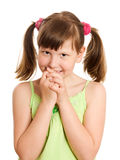 Happy smiling girl. Worried eight years girl biting fingernails isolated stock photo