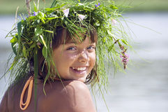 Happy smiling girl with wreath Royalty Free Stock Photography