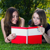 Happy smiling girls with a book Stock Photography