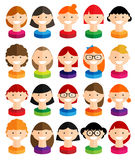 Happy smiling girls with various hair style, flat design Royalty Free Stock Photos