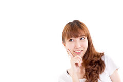Happy, smiling, glad woman looking up Stock Photography