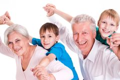 Happy smiling grandparents with their grandsons Royalty Free Stock Image