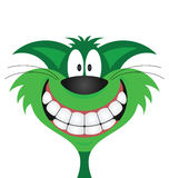 Happy smiling green cat. Isolated on white background Royalty Free Stock Image