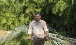 Happy, Smiling, Handsome & Friendly Mexican Man Holding a Machete Working as a Gardener at a Resort in Mexico