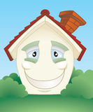 Happy smiling house character. A cute smiling happy cartoon house character Royalty Free Stock Image