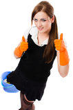 Happy smiling house cleaning girl. Happy sexy cleaning woman - housemaid, elevated view - isolated on white background Royalty Free Stock Image