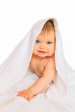 Happy smiling infant baby with white towel. On head. Healthy care concept Stock Image