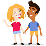Happy smiling interracial cartoon couple holding hands Stock Photography