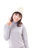 Happy, smiling, joyful woman wearing knit hat, showing 1 finger Stock Images