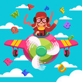 Happy smiling kid flying plane like a real pilot Royalty Free Stock Photography