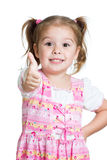 Happy smiling kid girl with ok hand sign royalty free stock images