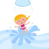 Happy smiling kid jumping from water slide tube Royalty Free Stock Image