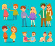 Happy smiling kids lovely couple with hearts fall in love vector cartoon characters togetherness. Couple in love. Romantic boys and girls together adult Stock Photos