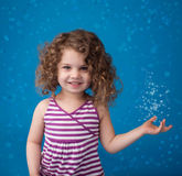 Happy Smiling Laughing Child: Blue Background Icy Frozen Snowfla Royalty Free Stock Image