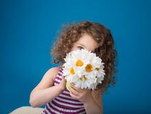 Happy Smiling Laughing Child: Girl with Curly Hair Stock Images