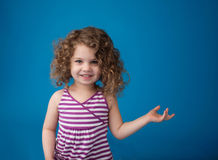 Happy Smiling Laughing Child: Girl with Curly Hair Stock Image
