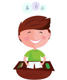 Happy smiling learning boy on english lesson. Cartoon  illustration of boy learning the letters Royalty Free Stock Images