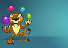 Happy Smiling Lion Character Juggling Four Colorful Balls royalty free stock photos