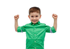 Happy smiling little boy with raised hand Royalty Free Stock Images