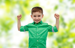 Happy smiling little boy with raised hand Royalty Free Stock Photos