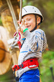 Happy smiling little boy on the rope track Royalty Free Stock Photos