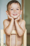 Happy Smiling Little Caucasian Tanned Boy With Hands LIfted. Tou Stock Photography