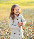 Happy smiling little girl child walking in autumn Stock Image