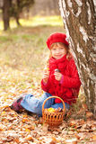 Happy smiling little girl with  mushrooms Stock Photography